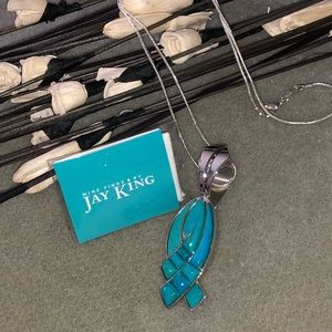 Jay King Turquoise Pendant 🌼 .925 Silver